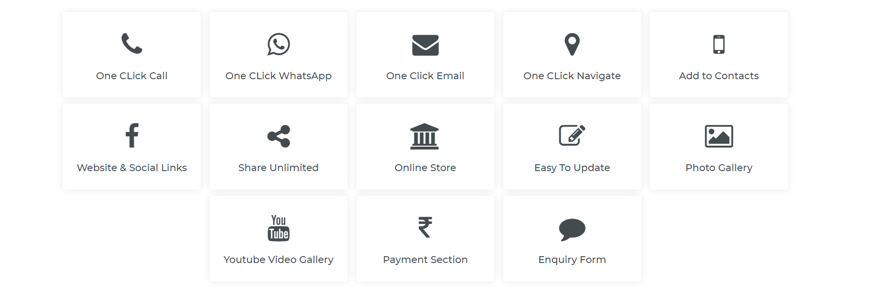 Features - Digital visiting cards